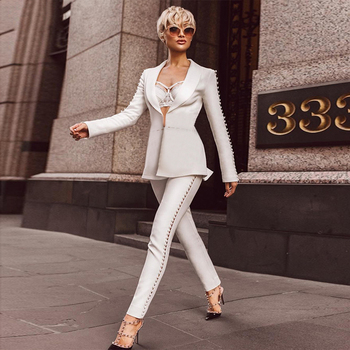 Winter Woman Sets Long Sleeve Jacket&Pants 2 Two Pieces Set Night Out Celebrity Evening Party Women Set
