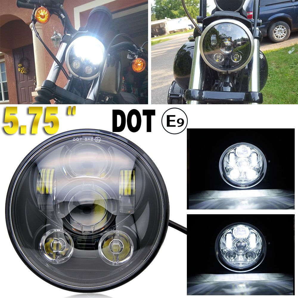 CO LIGHT 5.75 5 3/4 LED Headlight 50W 30W Motos Accessories Daymaker Black Projector Hi/Lo DRL For Harley Dyna Sportster 12V24V harley led daymaker headlights 5 75 inch hi lo beam projector headlight for harley dyna sportster 1200 48 883 trun signal lights