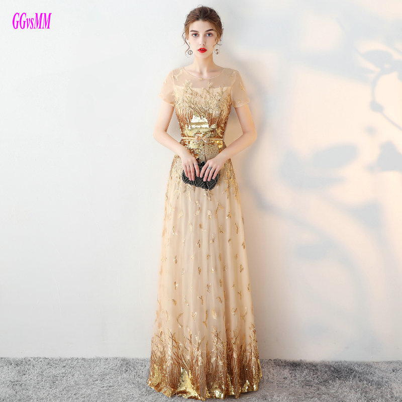 Brilliant Gold Plus Size Prom Dresses Long 2019 Sexy Lady Prom Dress O-Neck Tulle Embroidery Sequin A-Line Formal Party Gowns