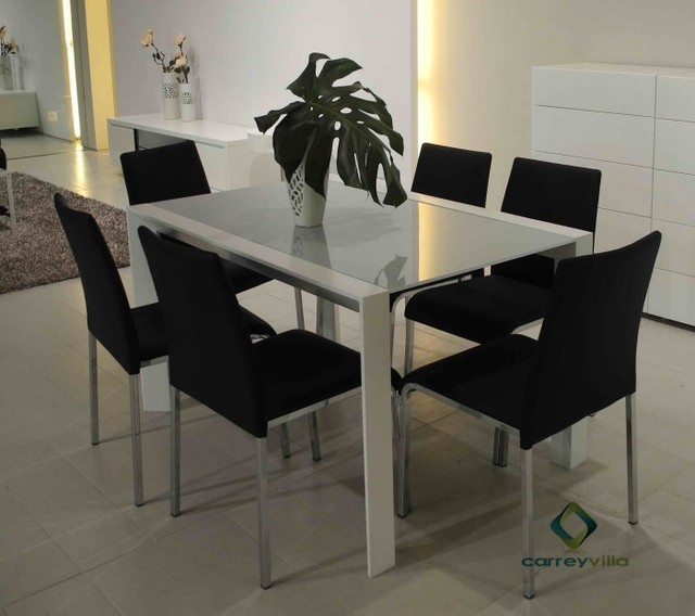The New Dining Table Chairs Restaurant Dining Furniture Fashion Simple Long  Table Rectangular Glass Table Surface