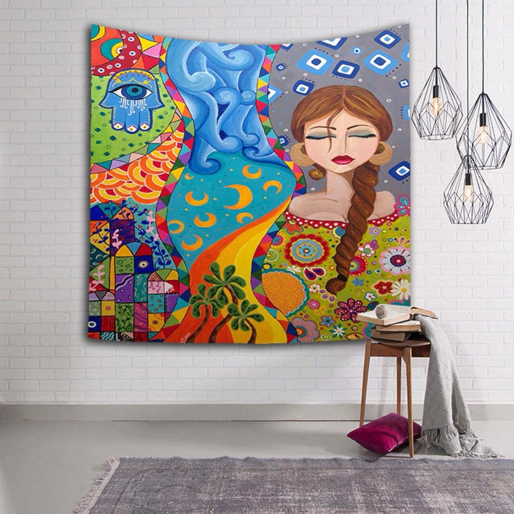 Indonesian Girl Decoration Tapestry 3D Printed Handmade Wall Tapestry Mandala Blanket Beach Towel Tapiz Pared Wall Hanging