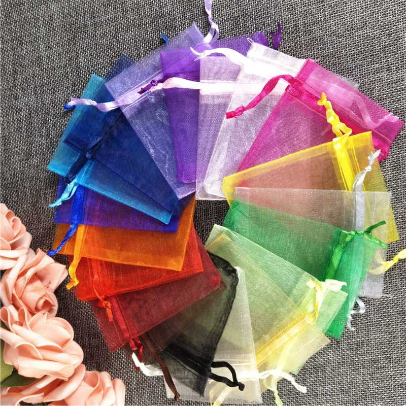 50Pcs Organza Bag Jewelry Packaging & Display Bags Candy Pouches Drawable Bags Wedding Party Decoration Christmas Gift Bags 7Z