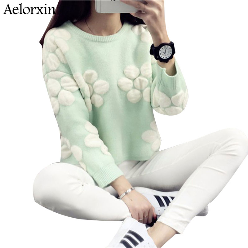Weaters Women Pullover Flowers Loose O-neck Long Sleeve Sweater Thick Hedging 2016 New Arrival Aelorxin christmas sweater