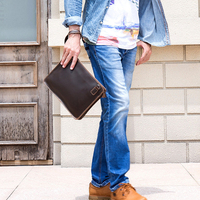 Men's Genuine Leather Shoulder Bag Brown Cow Leather Hand Bag Men Male A4 Document Bag Leather Clutch Wallet iPad Case