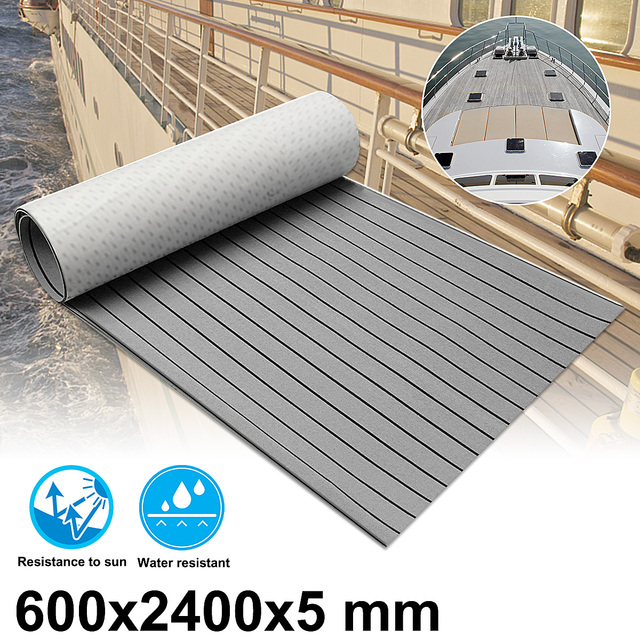 Audew 600x2400x5mm Self-Adhesive Marine Flooring Faux Teak Grey With Black Lines EVA
