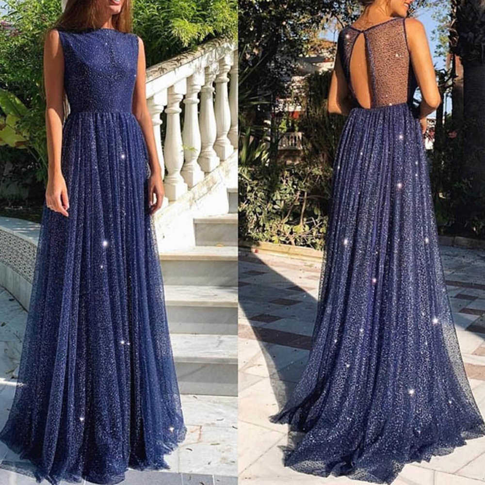 Blue Bling Mesh Party Dress FemaleSexy High Waist Perspective Sleeveless Patchwork Long Maxi Splice Star Slim Summer Vestidos
