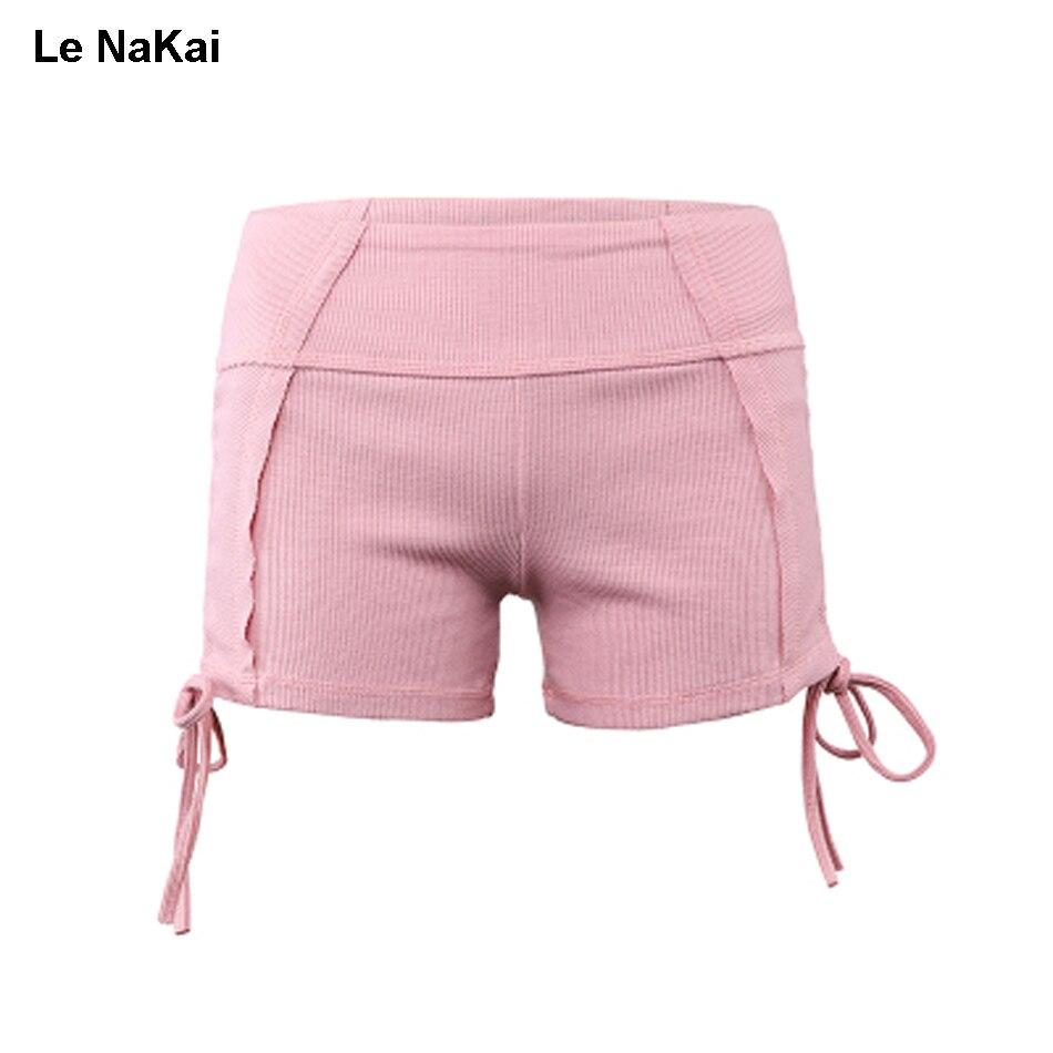 Le NaKai Cute Side Tie Ribbed Knitting Yoga Shorts Solid