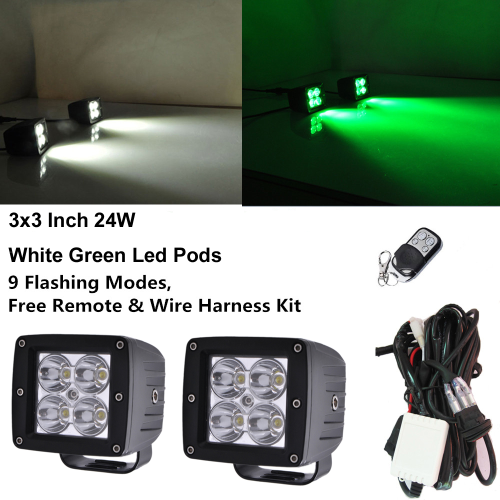 Honzdda 3 24w Led Work Light Offroad Remote Control White Green Off Road Wiring Harness Kits Color Changing Warning 9 Flashing Modes Wire