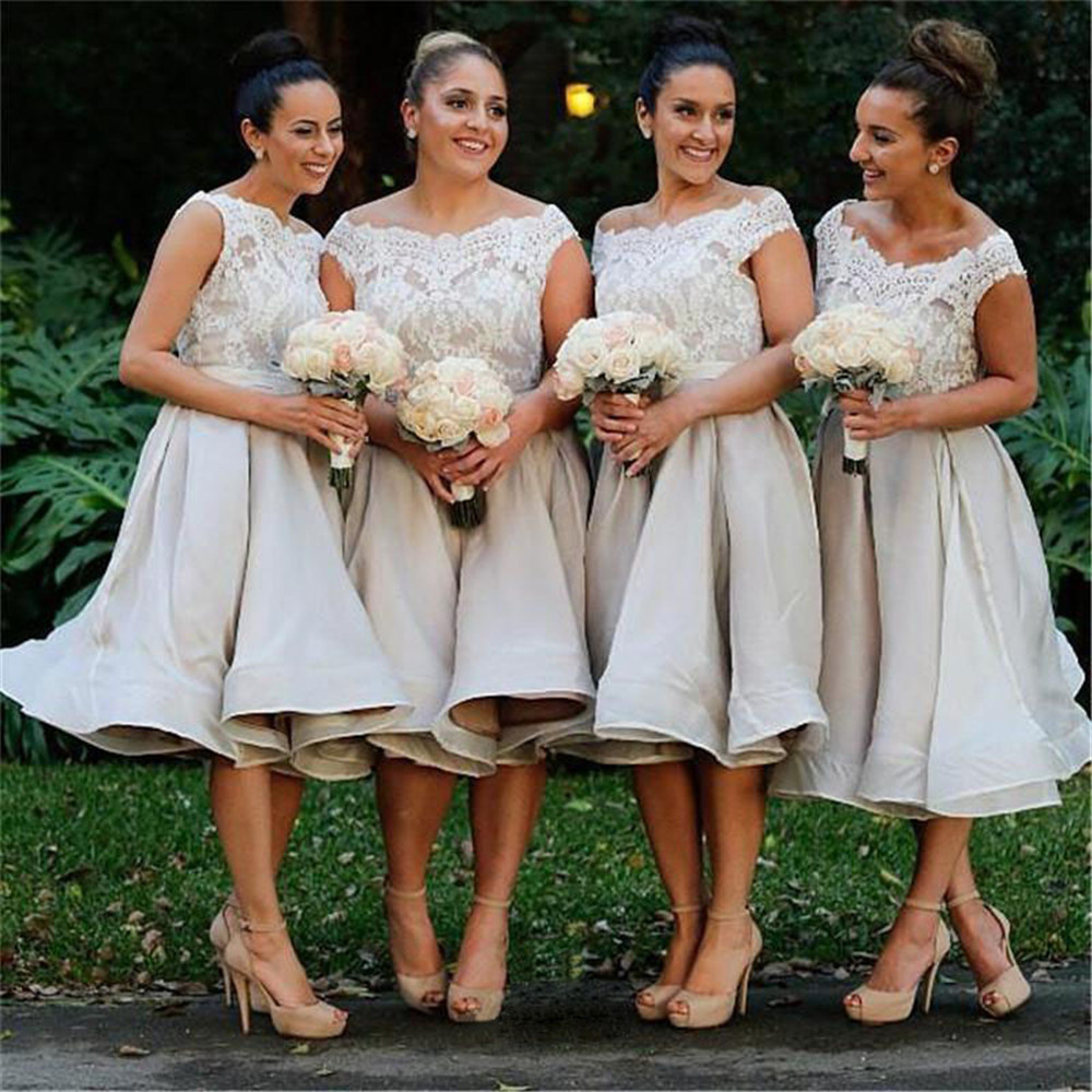 Short Bridesmaid Dresses 2016 Cheap Promotion Maid of Honer Cap Sleeve Lace Grey Bridesmaid Dress for women