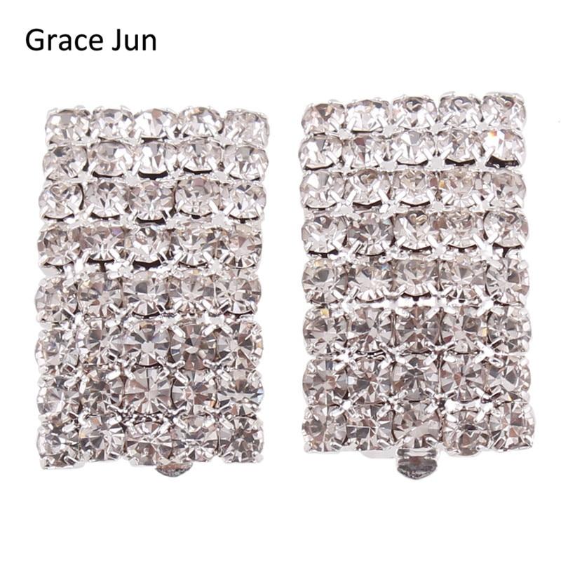 Grace jun novo estilo strass cristal clipe geométrico em brincos sem piercing para as mulheres festa de casamento moda clipe de orelha