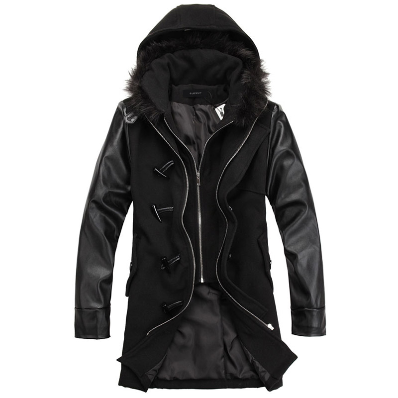 Popular Leather Sleeve Trench Coat Men-Buy Cheap Leather Sleeve ...