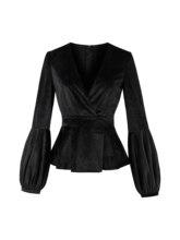 Gothic Black Blouse Top Women 2018 Autumn Sexy V Neck Tunic Peplum Lantern Long Sleeve Shirt Fashion Vintage Velvet Blouses Girl