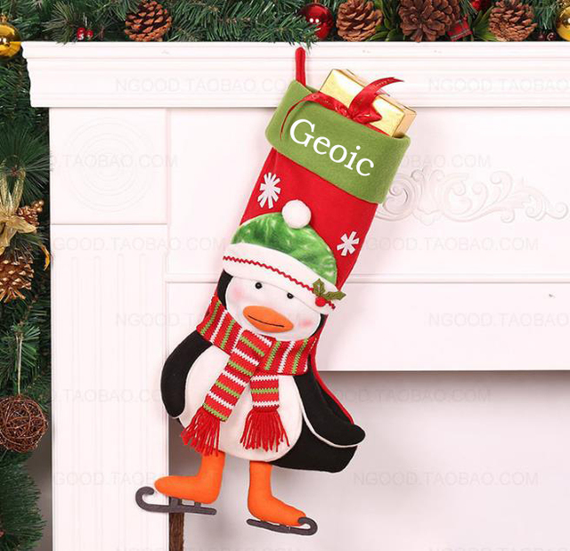penguin monogrammed christmas stocking personalized christmas snowflake stockings funny christmas stockings ornaments - Funny Christmas Stockings