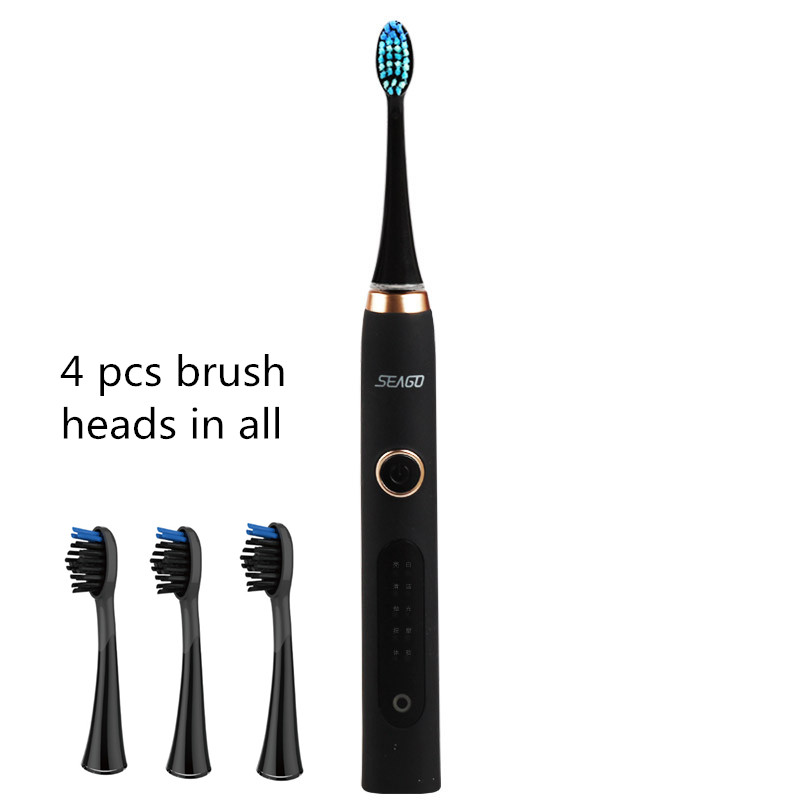 4pcs brush heads Sonic Electric Toothbrush Waterproof USB rechargeable 6MM swing 5 models tooth brush whitening