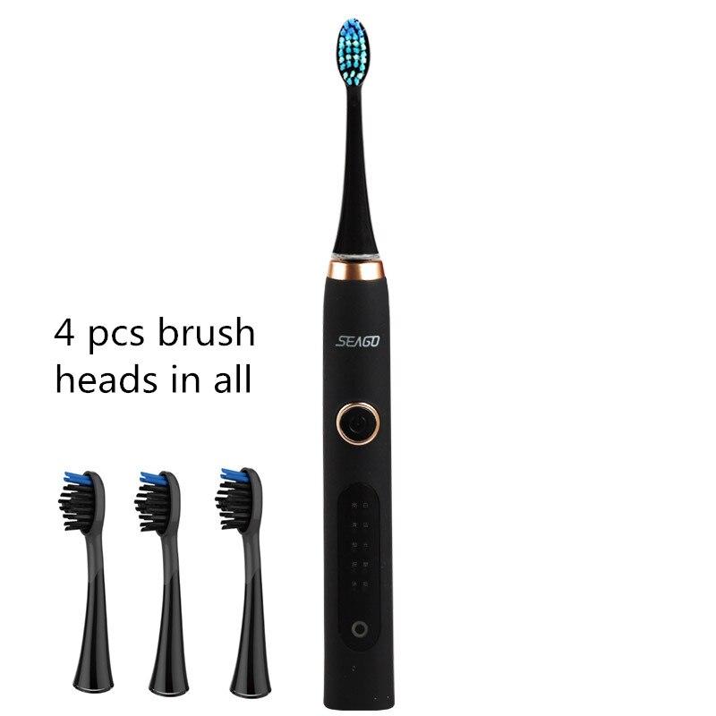 4 шт. насадки-щетки Sonic Электрические зубные щётки Водонепроницаемый USB Перезаряжаемый 6 мм качели 5 моделей отбеливающая зубная щетка Сиго S8