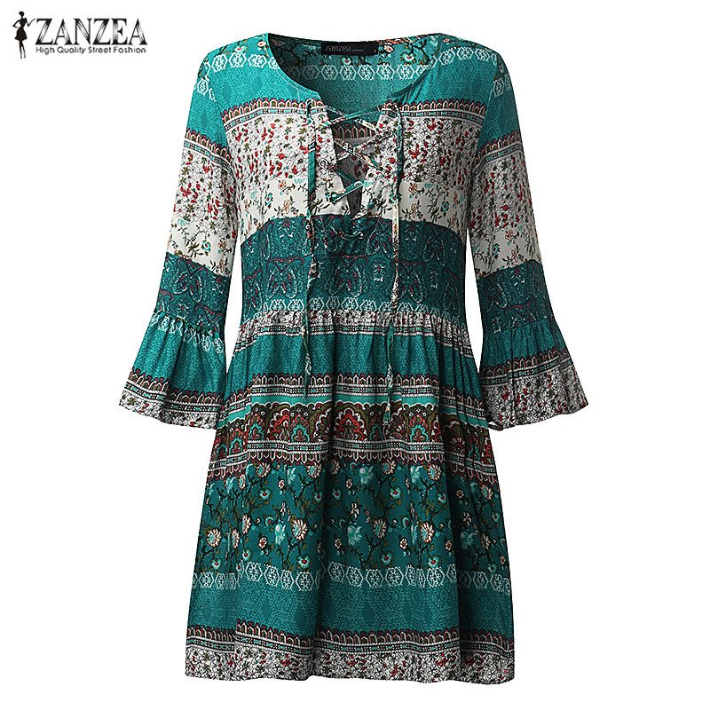 2018 Musim Panas ZANZEA Wanita Dicetak Mini Dress Wanita Sexy V Neck - Pakaian Wanita - Foto 4