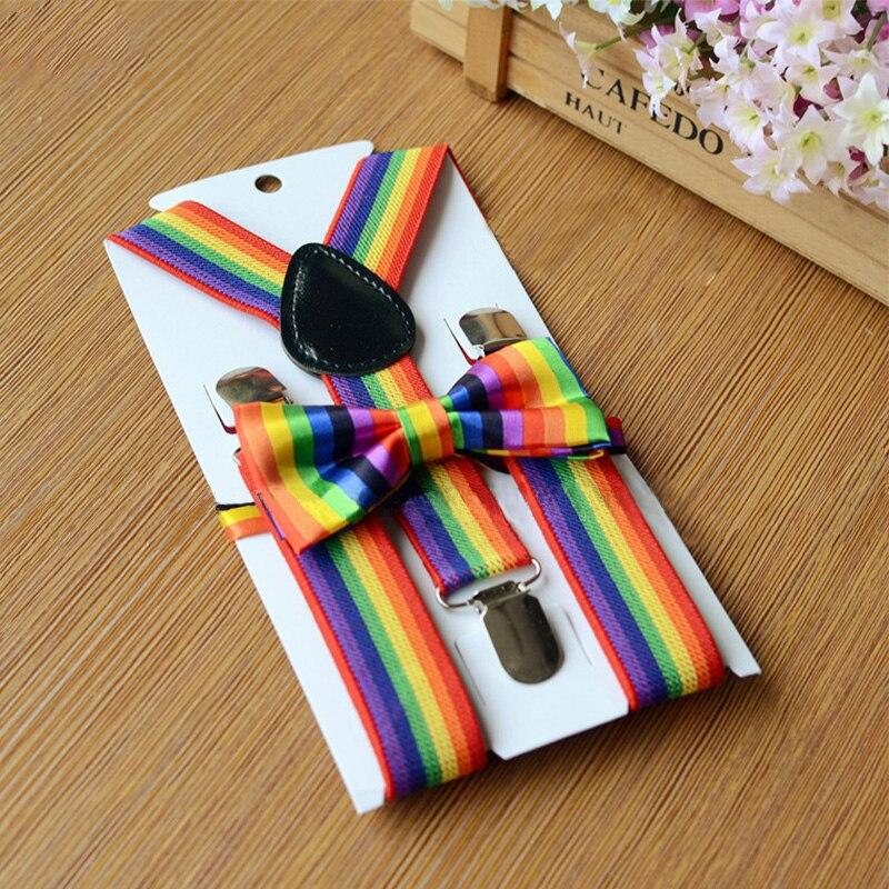 Mantieqingway Children Suspender Bow Tie Set Braces Adjustable Rainbow Elastic Strap 3 Clip-on Suspender For Boys Strap Bowtie