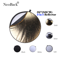 NeoBack 32″ 80cm 5 in 1 New Portable Collapsible Light Round Photography Photo Reflector for Studio Photo Discs
