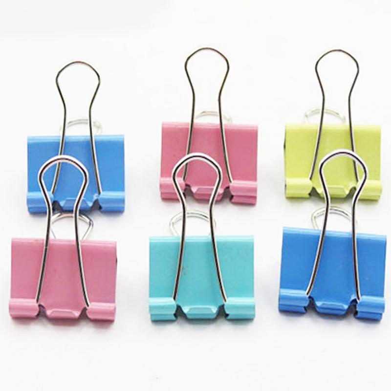 10pcs Binder Clips 15mm Colorful Metal Binder Clips Office