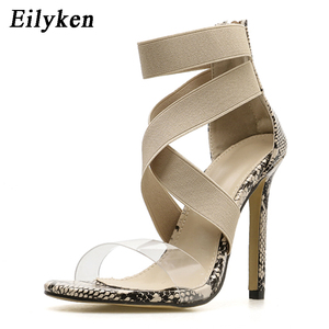 Image 4 - Eilyken New 2021 High Quqlity Women Sandals Open Toe Stiletto High Heels Summer Ladies Party Stretch Fabric Sandal Shoes