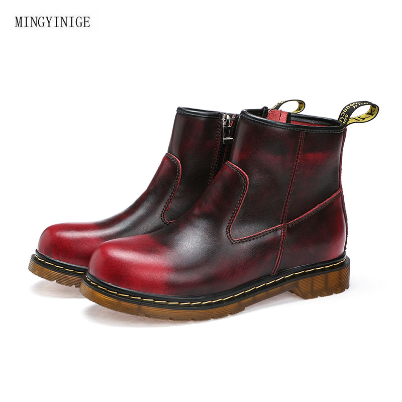 Women's Fashion British Style Fake Leather Men Boots Casual Business Office Lace Up Ankle Boots Autumn Winter Round Toe Flat