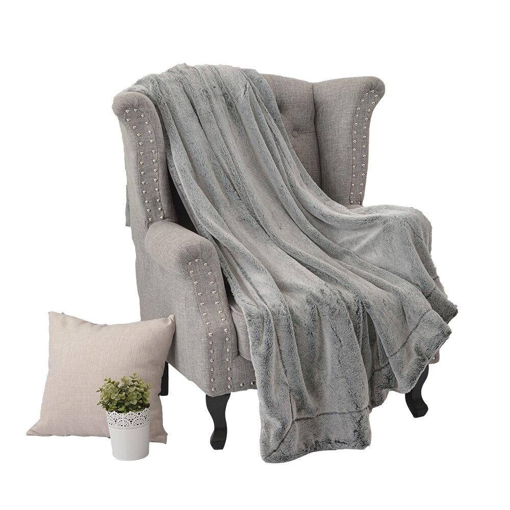 Couverture de fourrure de lapin Super douce teinte unie couleur café gris luxe fausse fourrure vison jeter printemps automne canapé avion couverture