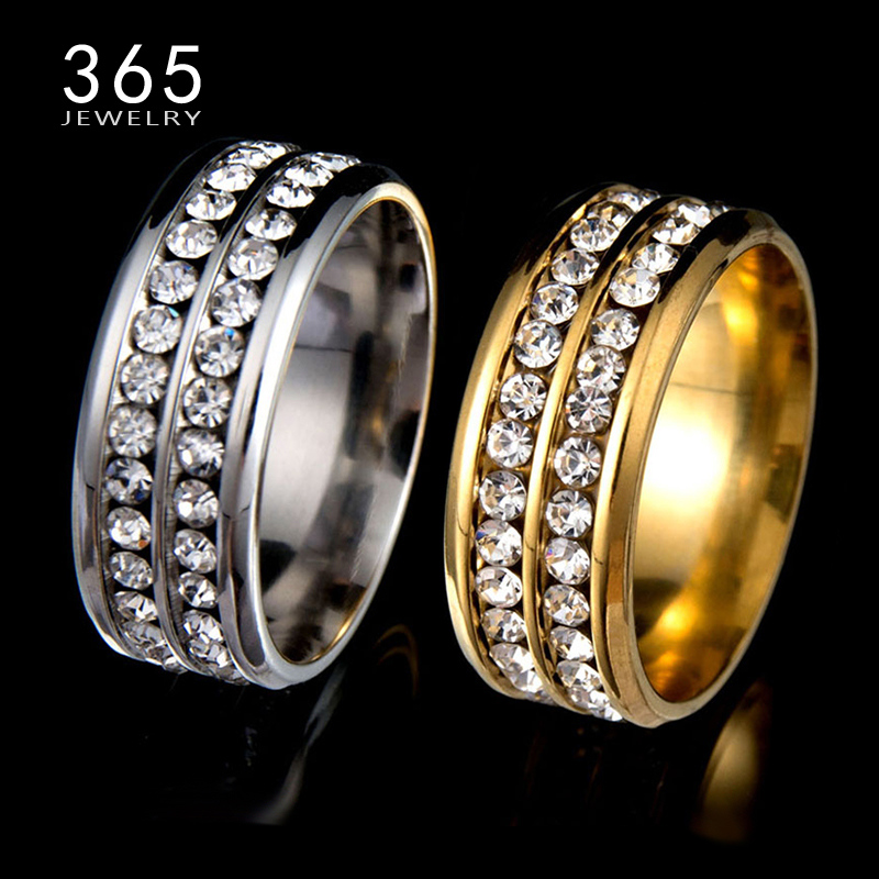 Hot Stone Jewelry Stainless Steel Double Rows Crystal Finger Mid Rings Titanium Rose Gold Rhinestone Wedding Rings for Women Men