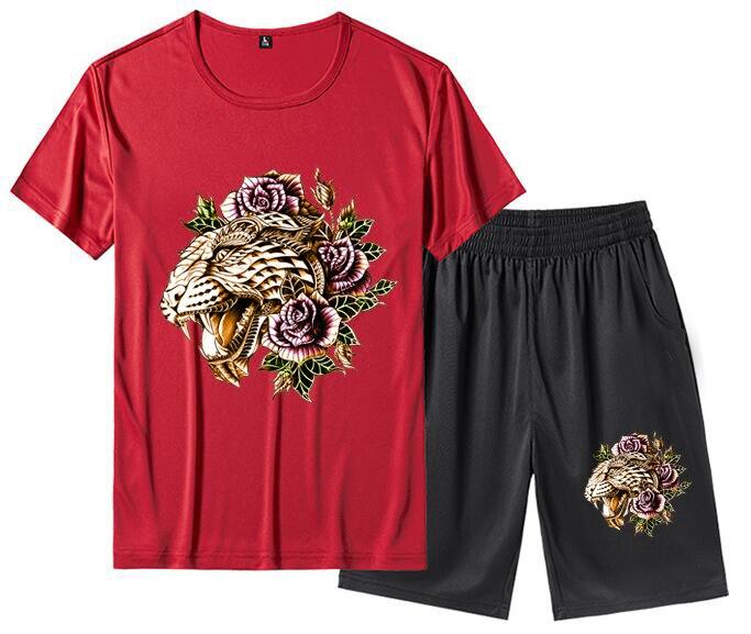 Men White Red Grey Black Blue Summer Short Sleeve T Shirt Top Tee Sport TrackSuit Suit Set Pants Tiger