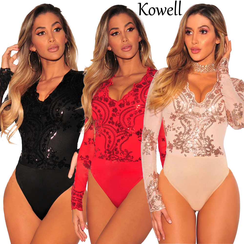 Kowell Mesh Patchwork Sequin Sexy Women Rompers Long Sleeve V-Neck Skinny Cotton Bodysui ...