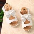 Niñas Sandalias Zapatos de Verano 2016 Nueva Llegada Del Verano Arco HollowSandals Niños Sólidos Zapatos de Moda Niños 9036 W
