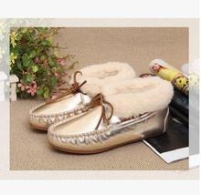 2016 Genuine female winter round Tanguka wool warm plush women's shoes