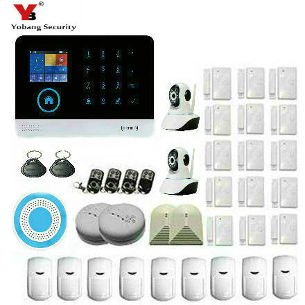 Yobang Security WiFi GPRS GSM Alarm system Detector Sensor Wireless Security Alarm System for home office store IOS Android APP yobang security wifi gsm wireless pir home security sms alarm system glass break sensor smoke detector for home protection