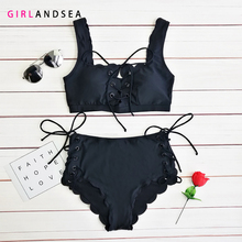 GIRLANDSEA New 2019 High-waisted Printed Bikini Set Solid Swimsuit Floral Ruffled Bikini Set Women