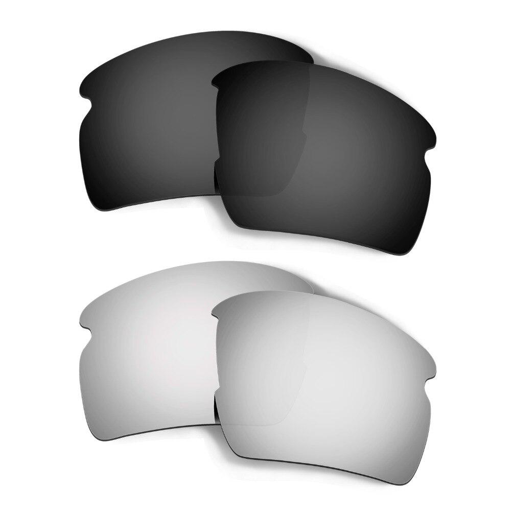2 Pairs Lenses For  Flak 2.0 XL Sunglasses Polarized Replacement Lenses Colors Black & Silver