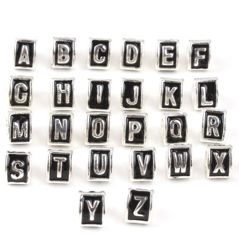 free shipping 1pc silver european black initial letter big hole bead charm fits pandora charm bracelets