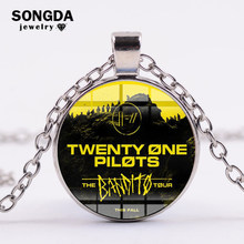 SONGDA Rock Band Twenty One Pilots Fashion Long Necklace Silver Chain Retro Logo Glass Cabochon Pendant Necklace Hiphop Jewelry(China)