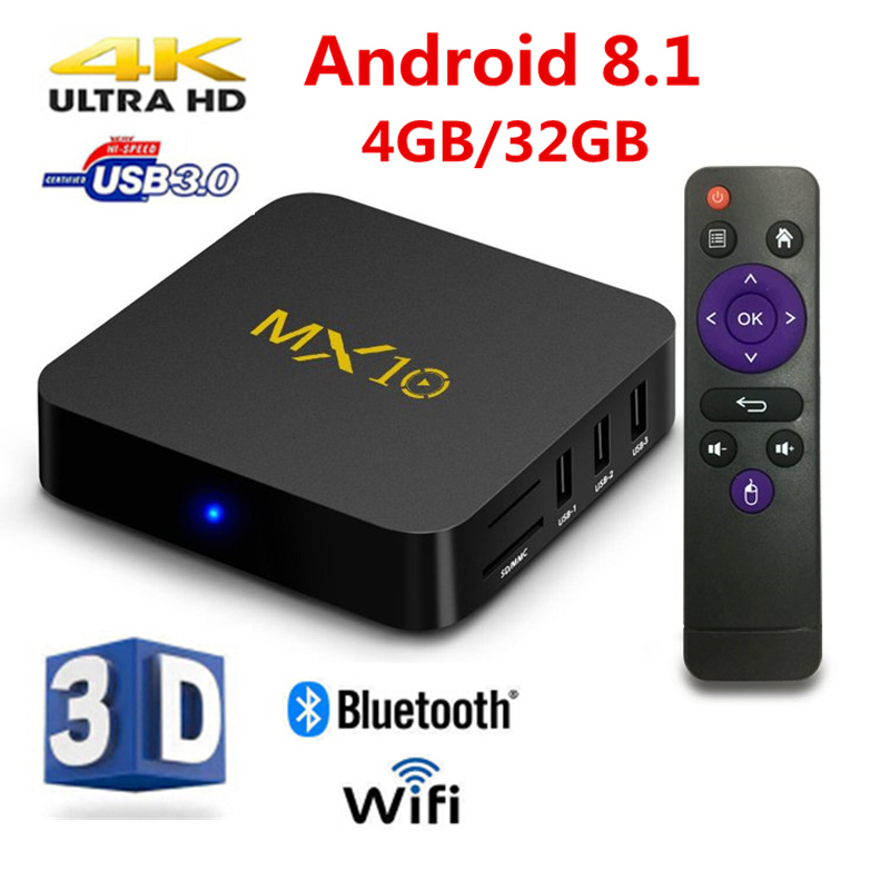 лучшая цена AKASO MX10 4K Android 8.1 TV Box 4GB/32GB RK3328 2.4G WiFi 100M VP9 H.265 HDR10 4K USB 3.0 MX10 Smart Set Top Box Media Player