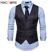 Fashion Formal Men Suit Vests Brand Quality Business Unique Button Design Solid Color Slim Fit Business Dress Waistcoat Vest XXL