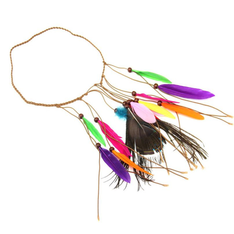2017 Top Fashion Fitness women Creative Indian Style Feather Hand Woven Peacock Feather Hair Bands Headband acessorios de cabelo