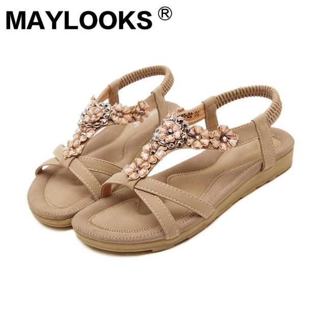 7efc96c256e2 2018 summer sweet sandals bohemian beach flower flat shoes woman sandal  M-560-22