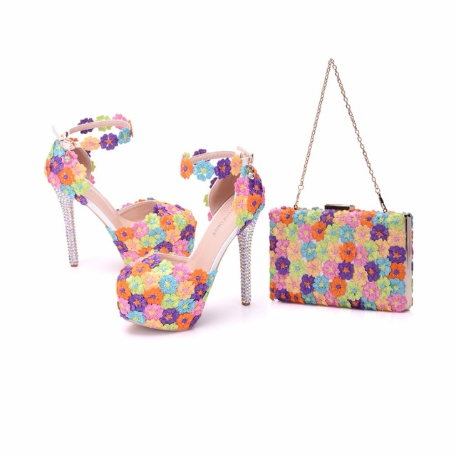 Crystal Queen Multicolor Flower Shining Womens Sandals Wedding Shoes Matching bags Clutches 14CM High Heels Female Pumps Party