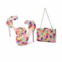 Kristal Kraliçe Renkli Çiçek Parlayan Bayan Sandalet Düğün Ayakkabı Eşleşen çanta Debriyajlar 14 CM Yüksek Topuklu Kadın Pompaları Parti