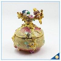 Rare Hand Printed Vintage Style Love Bird Colorful Rhinestone Jewerly Trinket Box Faberge Egg