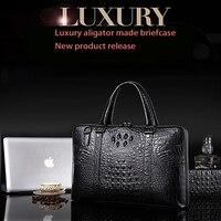Nuleez men's bag busineeze handbag cowhide alligator made briefcase luxury Europe and America style cross body 2018 promotion