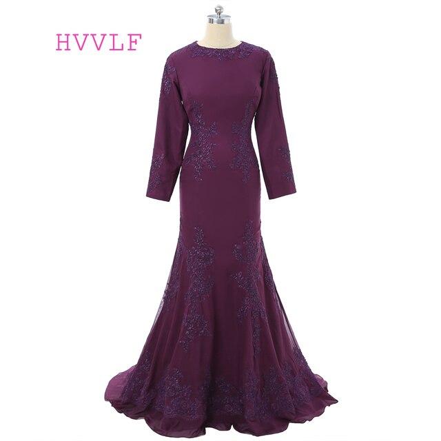 Purple Muslim Evening Dresses 2019 Mermaid Long Sleeves Chiffon Appliques Islamic  Dubai Kaftan Saudi Arabic Long Evening Gown d665c28268b8