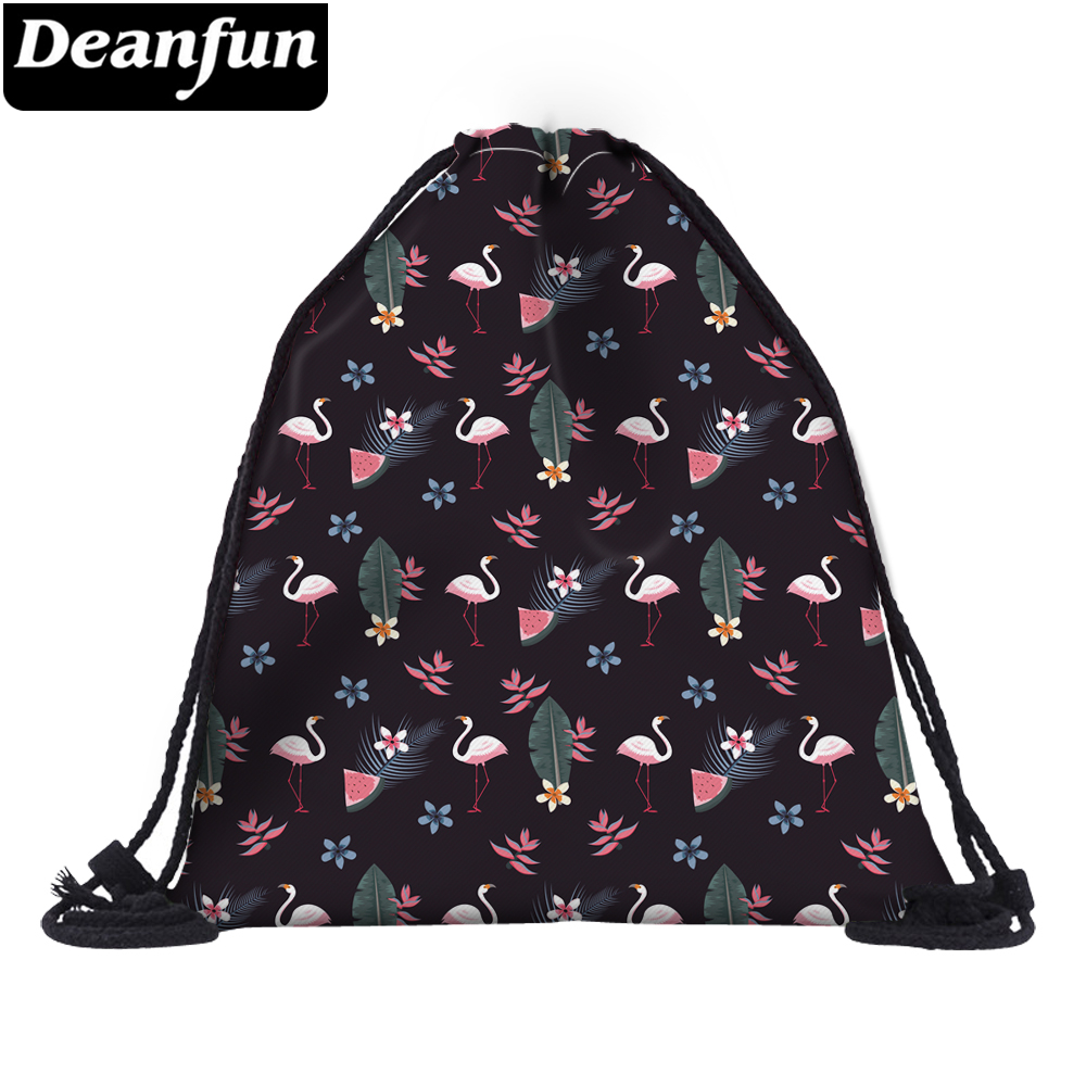 Deanfun Small Flamingo Drawstring Bag 3D Printing Fashion For Women Travelling Organizer 60148 #