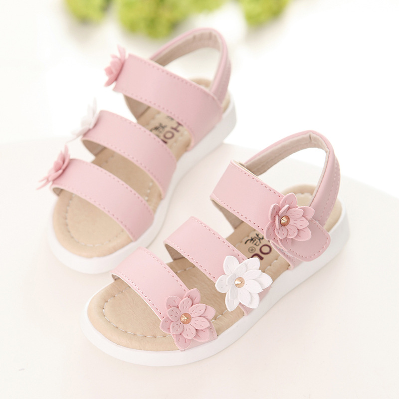 1fc3f3dd0bea0 Summer Kids Girls Sandals Baby Shoes Pink White Princess Flower Children  Fashion Light Leather Flat Beach Roman Sandals Non slip-in Sandals from  Mother ...
