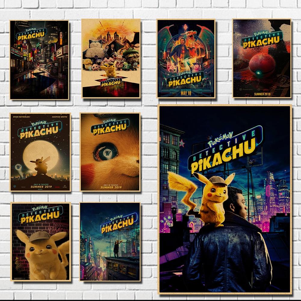 font-b-pokemon-b-font-detective-pikachu-hot-nostalgia-movie-kraft-paper-poster-painting-home-decor-art-decor-kids-room-wall-art-painting
