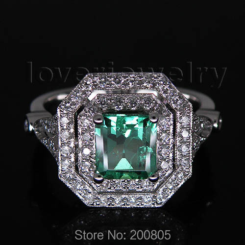 Classic Princess 6x6mm 18kt White Gold Natural Diamond Emerald Ring WU170