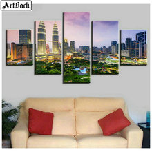 5 spelled diamond painting city landscape full square drill embroidery living room decoration Christmas